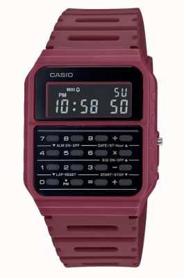 Casio Relógio retro calculadora | pulseira de resina vermelha escura | mostrador preto CA-53WF-4BEF