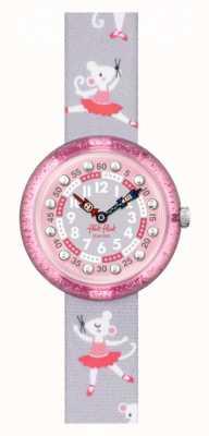 Flik Flak Pirouette | pulseira de tecido com estampado de bailarina cinza | mostrador rosa FBNP162