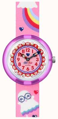 Flik Flak Assustador | pulseira de tecido com estampa de fantasma rosa / arco-íris | mostrador rosa FBNP165