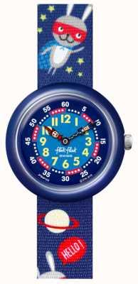Flik Flak Super hopper   pulseira de tecido com estampa espacial azul   mostrador azul FBNP166