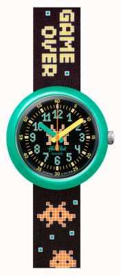 Flik Flak Invasor do tempo | bracelete em tecido patten preto | mostrador preto FPNP069