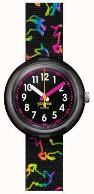 Flik Flak Unicórnio disco   pulseira de tecido preto com estampa unicórnio multicolorida   mostrador preto FPNP070
