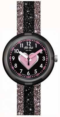 Flik Flak Cuoricino | pulseira têxtil rosa / preta | mostrador preto FPNP071