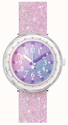 Flik Flak Pearlaxus   pulseira de silicone com glitter rosa   mostrador multicolorido FCSP107