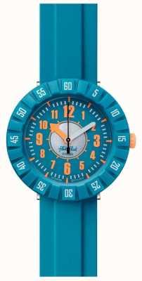 Flik Flak Teal minha mente   pulseira de silicone azul   mostrador azul FCSP099