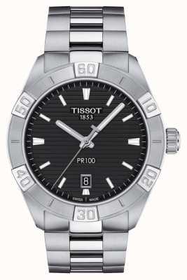 Tissot Pr100 sport | mostrador preto | pulseira de aço inoxidável T1016101105100