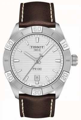 Tissot Pr100 sport | mostrador prateado | pulseira de couro marrom T1016101603100