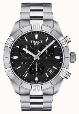 Tissot Pr100 sport | cronógrafo | mostrador preto | pulseira de aço inoxidável T1016171105100