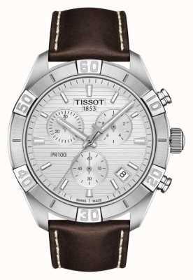 Tissot Pr100 sport | cronógrafo | mostrador prateado | pulseira de couro marrom T1016171603100