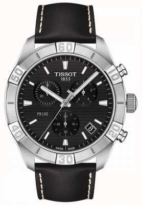 Tissot Pr100 sport | cronógrafo | mostrador preto | pulseira de couro preta T1016171605100