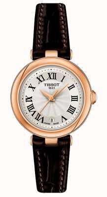Tissot Bellissima | mostrador prateado | pulseira de couro marrom T1260103601300