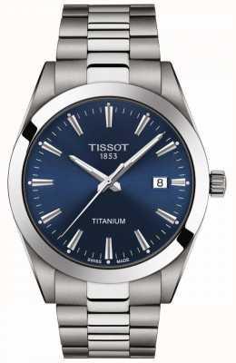 Tissot Cavalheiros titânio | pulseira de titânio cinza / prata | mostrador azul T1274104404100