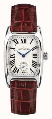 Hamilton Boulton | mostrador branco | pulseira de couro marrom H13321811
