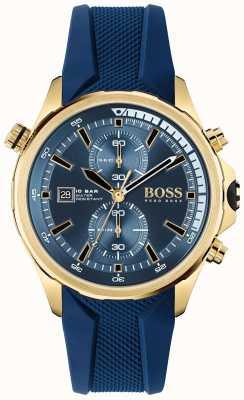 BOSS | globetrotter | cronógrafo | mostrador azul | pulseira de silicone azul | 1513822