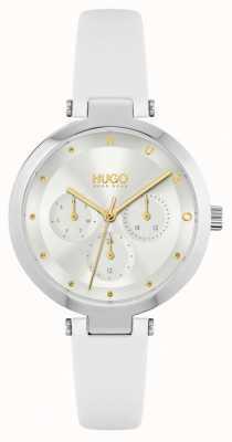HUGO #hope | pulseira de couro branco para senhora | mostrador prateado 1540086