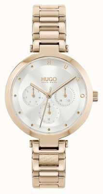 HUGO #hope multi | pulseira feminina de aço tom ouro rosa | mostrador prateado 1540087