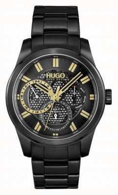 HUGO #skeleton | pulseira ip preta masculina | mostrador preto 1530192