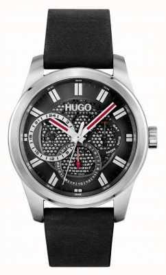 HUGO #skeleton | pulseira de couro preta para homens | mostrador preto 1530189