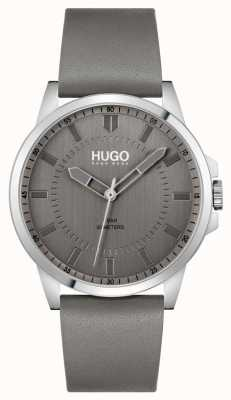 HUGO #first | pulseira de couro cinza para homem | mostrador cinza 1530185
