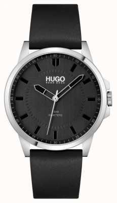 HUGO #first | pulseira de couro preta para homens | mostrador preto 1530188