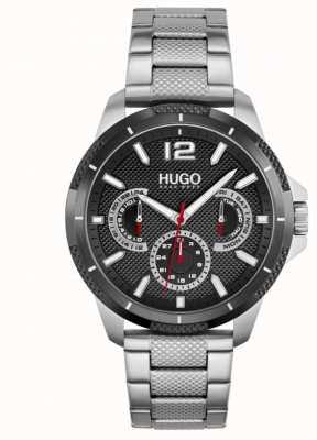 HUGO #sport | pulseira de aço inoxidável para homem | mostrador preto 1530195