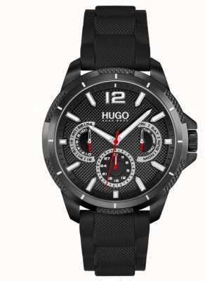 HUGO #sport | pulseira de silicone preta para homens | mostrador preto 1530193