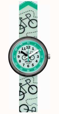 Flik Flak Bikeway | pulseira de tecido com estampa de bicicleta verde | mostrador verde FPNP066