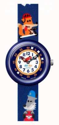 Flik Flak Sk8fox | pulseira de tecido com estampado de raposa azul | mostrador branco FBNP164