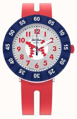 Flik Flak Home run | pulseira de silicone vermelha | mostrador branco FCSP101