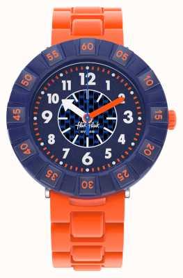 Flik Flak Orangebrick | pulseira de silicone laranja | mostrador azul FCSP103