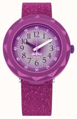 Flik Flak Purpleaxus | pulseira de silicone com glitter roxo | mostrador roxo FCSP106