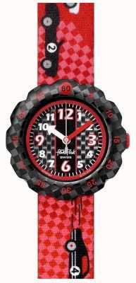 Flik Flak 3 2 1 vá!   alça de tecido com impressão de carro de corrida vermelha   mostrador preto FPSP044