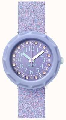 Flik Flak Lilaxus | pulseira de silicone com glitter roxo | mostrador roxo FCSP102