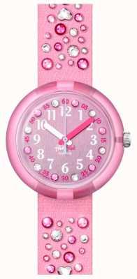 Flik Flak Millefeux   pulseira de tecido de cristal rosa   mostrador rosa FPNP074