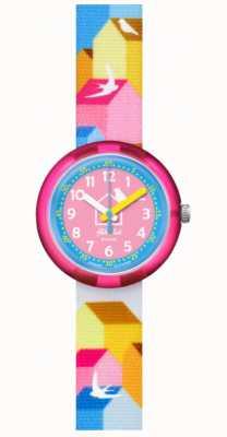 Flik Flak Casitas | bracelete em tecido multicolor | mostrador azul / rosa FPNP067