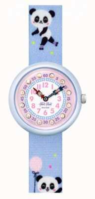 Flik Flak Pandi panda   bracelete de tecido com estampado de panda azul   mostrador rosa FBNP163