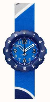 Flik Flak Chute!   pulseira de tecido com estampa de futebol azul   mostrador azul FPSP045