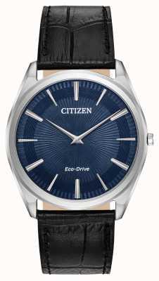 Citizen Stiletto | eco drive dos homens | pulseira de couro preta | mostrador azul AR3070-04L