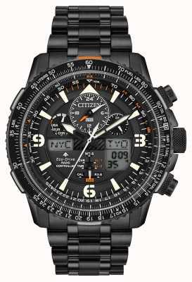 Citizen Skyhawk em | pulseira de aço ip preto para homens | mostrador preto JY8075-51E
