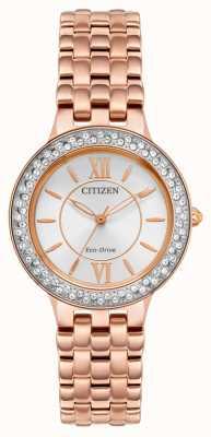 Citizen Pulseira feminina em ouro rosa eco-drive FE2088-54A