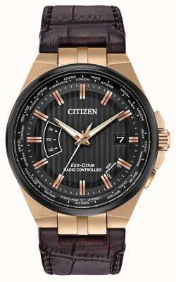 Citizen Mundo dos homens perpétuo em | pulseira de couro marrom CB0168-08E