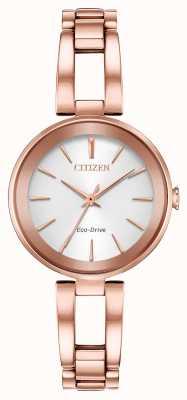 Citizen Pulseira feminina em ouro rosa com axioma de mergulho ecológico EM0633-53A