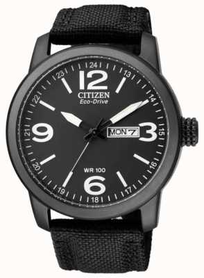 Citizen Eco-drive masculino | esporte militar | pulseira de nylon preta | mostrador preto BM8475-34E