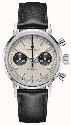 Hamilton Intramatic - cronógrafo mecânico   pulseira de couro preta   mostrador branco H38429710