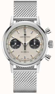 Hamilton Intramatic - cronógrafo mecânico   pulseira de malha de prata   mostrador branco H38429110