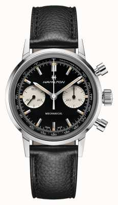 Hamilton Intramatic | mecânico | cronógrafo | mostrador preto | pulseira de couro preta H38429730