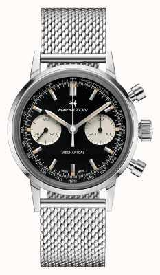 Hamilton Intramatic | mostrador preto do cronógrafo | pulseira de malha de aço H38429130