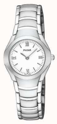 Pulsar Relógio de pulseira analógica de aço inoxidável para mulheres PEGE49X1