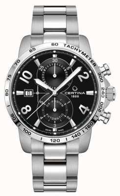 Certina Ds podium chrono | pulseira de aço inoxidável | mostrador preto C0344271105700