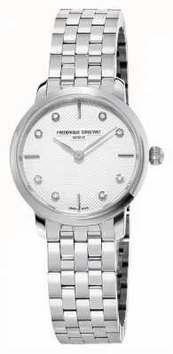 Frederique Constant Mostrador de diamante slimline feminino | pulseira de aço inoxidável FC-200STDS26B